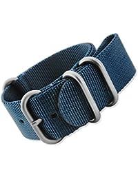 Mi-watch Zulu - Correa de nailon para reloj, estilo militar OTAN, varios colores y tamaños, Zulu Nato, azul