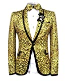 Chaqueta para hombre con diseño de escamas, abierta por delante y un solo botón, chaquetas y pantalones dorados Amarillo amarillo XL
