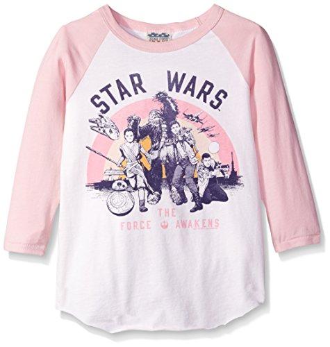Star Wars Ep 7 Rebel Group Girls Pink Sleeve Raglan Shirt X-Large (Kids T-shirts Junk Food)