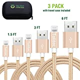 Tolitec Phone Cable | Gold Braided Nylon | 3 Pack 1.5, 3, 6 Feet| Travel Case Included | High Speed Data and Sync Transfer | USB Connector Cord Compatible with Apple Device (Gold)
