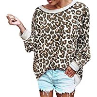 Casual Camisetas de Manga Larga Suéter JiaMeng Sudadera con Estampado de Leopardo de Manga Larga para Mujer