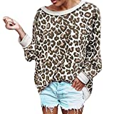 Bluse Damen mit Leoparden-Print, Jaminy Damen Lange Ärmel T-Shirt Oberteil Sexy Shirts Gedruckt Blusen Damen Hemd Bluse langärmlig Top S-XL (Gelb, L)