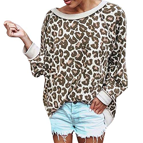 XNBZW Tops Womens Leopard Print Long Sleeve T-Shirt Ladies Casual Loose Pullover Blouse Tops Leopard Printed Sweatshirt Long Sleeve Pullover Shirt Top (Maroon Outfit Leggings)