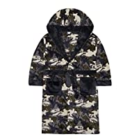 4Kidz Boys Dinosaur Camo Soft Fleece Dressing Gown with Hood