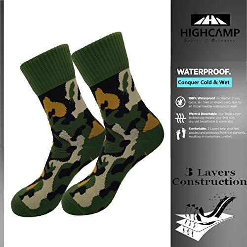 Highcamp SGS zertifizierte wasserdichte Socken für Herren und Damen, Kupferkissen, für Radfahren, Laufen, Wanderstiefel, wasserdicht, Damen, grau, Large