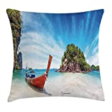 MLNHY Tropical Throw Pillow Cushion Cover, Surreal Beach in Thailand with an Old Wooden Boat Island Ocean Picture, Decorative Square Accent Pillow Case, 18 X 18 inches, Fern Green Blue Cream