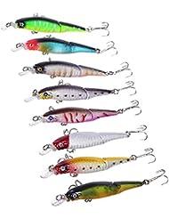 8 Colores De Señuelos De Pesca Dura Varios Articulado Pez Pequeño Plástico ABS Cebos Curricán
