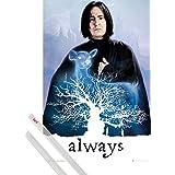 Poster + Hanger: Harry Potter Poster (91x61 cm) Snape Always Inklusive Ein Paar 1art1® Posterleisten, Transparent