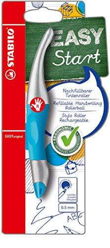 Preisvergleich Produktbild STABILO EASYoriginal metallic  ergonomischer Tintenroller für Rechtshänder - Schreibfarbe blau (löschbar) - Einzelstift neonblau/metallic