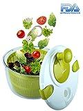 OVOS Essoreuse à Salade Grande Taille 5 litres Essoreuse pour Fruits et légumes faciles à préparer Design à séchage Rapide sans BPA (Vert)