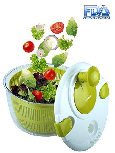 Salatschleuder Große 5 Liter Obst und Gemüse Trockner Schnell trockenes Design BPA Frei Trocken und Drain Salat und Gemüse mit Leichtigkeit für schmackhaftere Salate und schnellere Lebensmittel Prep