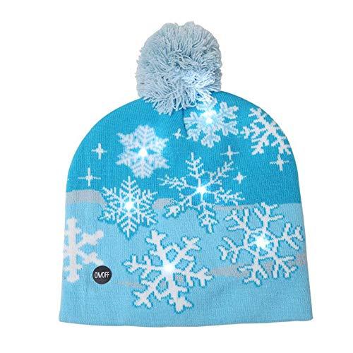 Weihnachten LED Light Strickmütze für Erwachsene Kinder, Bunte Licht Stricken warme Mütze für Weihnachtsdekor