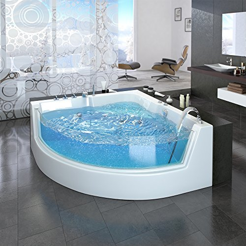 Whirlpool Eckbadewanne Badewanne Wanne 2 Personen Heizung Pool Luxus Panorama Fenster -