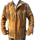 classyak Herren Cowboy Leder Jacke Perlen, Fransen und Knochen Gr. XXXX-Large, Braun, Wildleder