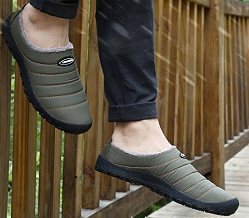 Inverno Nuovi Uomini Aggiungi Velluto Caldo Scarpe Casual In Cotone Home Scarpe Antiscivolo Mamma Indossare Pantofole Cotone Doppio Trascinamento Green