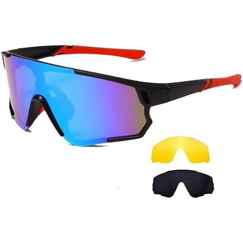 Long Keeper Occhiali Ciclismo Polarizzati con 3 Lenti Intercambiabili Occhiali da sole Sportivi da Uomo Donna UV400 Protezione per Corsa Bici Sport