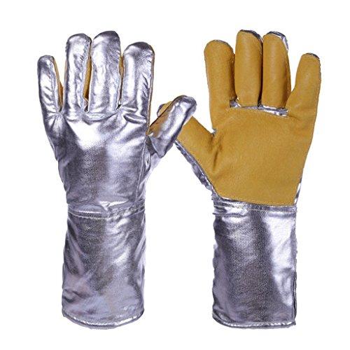 Guantes ignífugos Guantes de aluminio de alta temperatura de la capa de aluminio Radiación de defensa a prueba de calor 500 grados Protección industrial Guantes de cuero de la protección del trabajo Cinco dedos