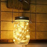 ELINKUME 20 LED Solarleuchten Wasserdicht Garten Hängeleuchten Außen Lichterkette für Party Weihnachtsferien Hochzeitsdekoration Solar Mason Jar Licht Warmweiß