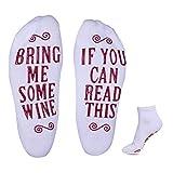 """Goldge Wein Socken Luxus-Wein-Socken Unisex Socken mit""""If You Can Read This Bring ME Some Wine"""" lustiges Wein-Zubehör für"""