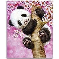 Wishwin Panda Peach Blossom Diamante Pittura Mosaic Punto Imposta Casa Della Decorazione Della Parete