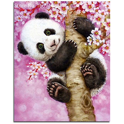 Wishwin Panda Peach Blossom Diamond Painting Mosaic Cross Stitch Sets House Wall Decor