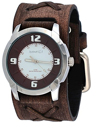 Nemesis #BFXB106BW Men's Embossed Design Collection Brown Distressed Wide Leather Cuff Band Watch