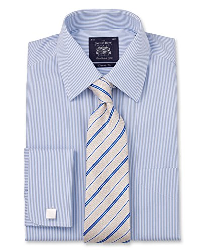 Savile Row Men's Non Iron Blue Bengal Stripe Classic Fit Shirt 15
