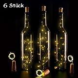 Lampe aus Flaschen 15Led Lichterkette Batterie Hochzeit Deko Licht Bottle Light das Flaschenlicht 75CM, Warmweiß Oktoberfest Weihnachtsbeleuchtung