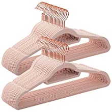 SONGMICS Velvet Hangers, 50 Pack, Non-Slip Clothes Hanger with Rose Gold Colour Swivel Hook, 0.6 cm Thick and Space Saving, 45 cm Long for Coat, Shirt, Dress, Trousers, Ties, Pink CRF21PK50