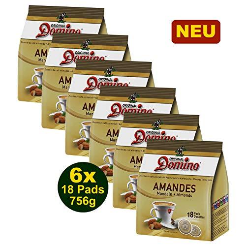 DOMINO AROMATISIERTE KAFFEEPADS'AMANDES' 6x 18 PADS 126g (756g) - gemahlener Röstkaffee mit Mandel...