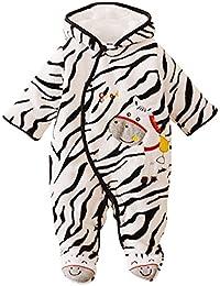 Happy Cherry Cartoon Pelele Cálido de Coral Forro Polar Ropa de Una Sola Pieza Pijama Mono Grueso Infantil Jumpsuit Baby Romper para 0-3 Meses Bebé Niño Niña Invierno
