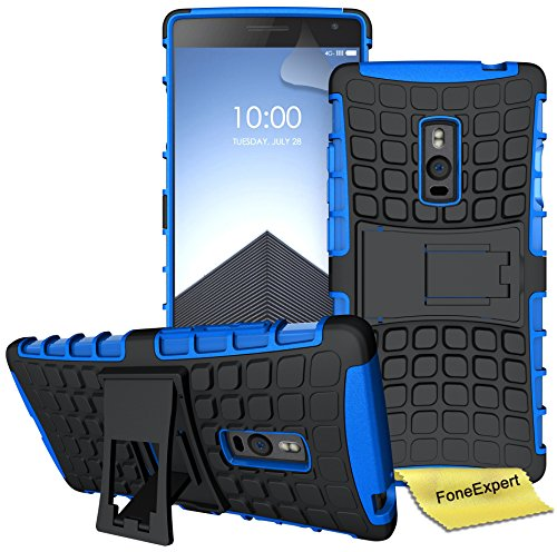 FoneExpert® OnePlus 2 / OnePlus Two Handy Tasche, Hülle Abdeckung Cover schutzhülle Tough Strong Rugged Shock Proof Heavy Duty Case für OnePlus 2 / OnePlus Two + Displayschutzfolie (Blau)