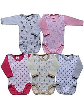 MEA BABY Unisex Baby Langarm Body aus 100% Baumwolle im 5er Pack, Baby Langarm Body mit Print, Baby Langarm Body...
