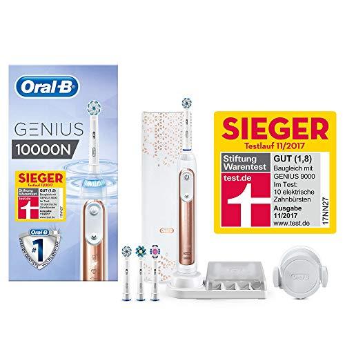 Oral-B Genius 10000N Elektrische Zahnbürste mit Zahnfleischschutz-Assistent und Premium Lade-Reise-Etui, roségold