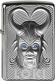 Zippo Loki 3D Emblema de with Blue Element Tallado Svarowski de Chrome Brushed de Acabado de Platino, handgebürstet, schutzlackiert Mechero, Plata, 6x 4x 2cm