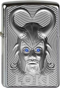 Zippo Loki 3D Emblem - with Blue Svarowski Element - Chrome Brushed - Platin-Finish, handgeb&uumlrstet, schutzlackiert Sturmfeuerzeug, Silber, 6 x 4 x 2 cm