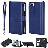 FNBK Handyhülle für iPhone 7 Plus Hülle Blau, Brieftasche Lanyard Handtasche Leder hülle Wallet Flip Cover Stand Kartenfach Reißverschluss Magnet Schutzhülle für iPhone 7 Plus/iPhone 8 Plus 5.5