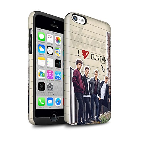 Offiziell The Vamps Hülle / Glanz Harten Stoßfest Case für Apple iPhone 5C / Pack 5pcs Muster / The Vamps Geheimes Tagebuch Kollektion Tristan