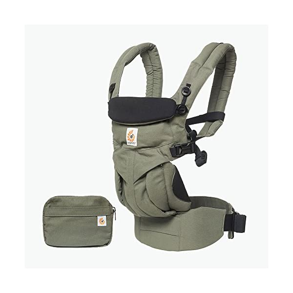 ERGObaby Baby Carrier Newborn to Toddler, 4-Position Omni 360 Khaki Green, Front Back Child Carrier Ergobaby Ergonomic Baby carrier with 4 wearing positions: parent facing, on the back, on the hip and on the front facing outwards. Four ergonomic carry positions and easy to use. Adapts to baby's growth: Infant baby carrier newborn to toddler (7-33 lbs./ 3.2 to 20 kg), no infant insert needed. Maximum comfort for parents: Longwear comfort with lumbar support waistbelt and extra cushioned shoulder straps. 4