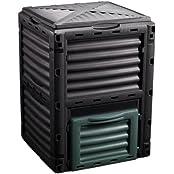 Oxid7 Kunststoff Gartenkomposter, Komposter, Thermokomposter Behälter mit 300 Liter