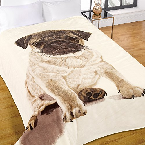 Dreamscene Luxus Warm Soft Mink Kunstfell Mops Hund Sofa Bett Überwurf, Decke, natur, 150x 200cm