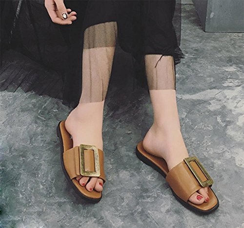 Platz Schnalle Sandalen vorne offen flache Schuhe der Wortsommerfrauen Sandalen und Pantoffeln ziehen Dark Brown