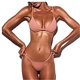 ❉Femme Bandage String Maillots de Bain Brésilien Bas Bikini Triangle Thong Panty Soutien-gorge Push-Up Rembourré Femme Bikini Plage Maillot de bain GongzhuMM (SEXY ROSE, S)