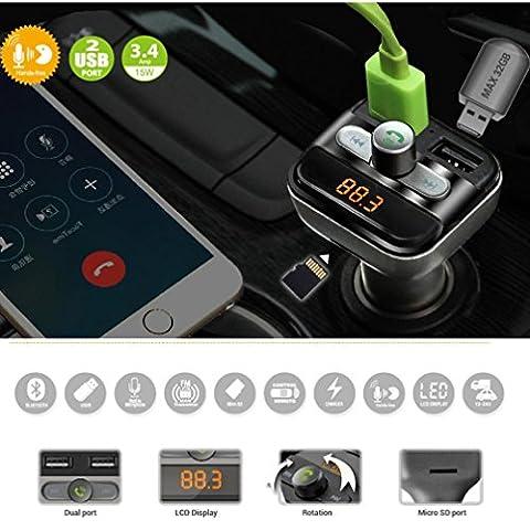 Hunpta Bluetooth Car Kit Wireless FM Transmitter Dual USB Charger Audio MP3 Player (Gray)