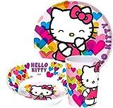Hello Kitty Set stovigliePiatto 20cm, tazza 9x 6,5cm e ciotola 14,5cm Adatto alla lavastoviglieMolto robusta e resistente agli urtiOriginal prodotto con licenza