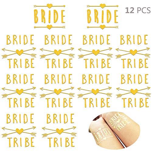 Daimay 12 Stück Bride Tribe Schärpe Braut Stamm Schärpen Set Metallic Shiny Gold Temporäre Tattoos für Hochzeit Nacht Bachelorette Junggesellinnen Abschieds Dekorationen Partyzubehör - Stil 1 (Metallic-stammes-tätowierungen)