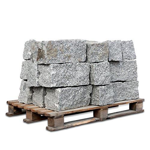 PALIGO Granitmauerstein Granit Bord Rand Kante Palisade Stein Gehweg Straße Natur Steine Grau 40 x 20 x 20cm 1.000kg / 1 Palette Galamio