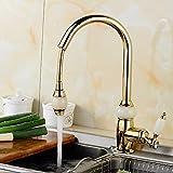 SADASD Moderne Badezimmer voll Kupfer Waschbecken Wasserhahn ziehen Küche Gold schwenkbare Waschbecken Mixer Keramik Ventil Einloch einzigen Griff Kaltes Wasser mit G 3/8 Schlauch Tippen