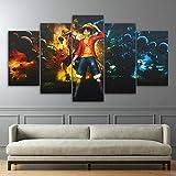 QJXX 5 Panel Leinwanddrucke HD Wandkunst One Piece Anime Gemälde Bild AFFE D. Luffy Poster Wandbilder Drucken Für Wohnkultur,B,30×40Cm×2+30×60Cm×2+30×80Cm×1