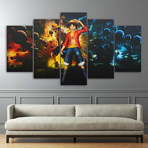 QJXX 5 Panel Leinwanddrucke HD Wandkunst One Piece Anime Gemälde Bild AFFE D. Luffy Poster Wandbilder Drucken Für Wohnkultur,B,30×50Cm×2+30×70Cm×2+30×80Cm×1